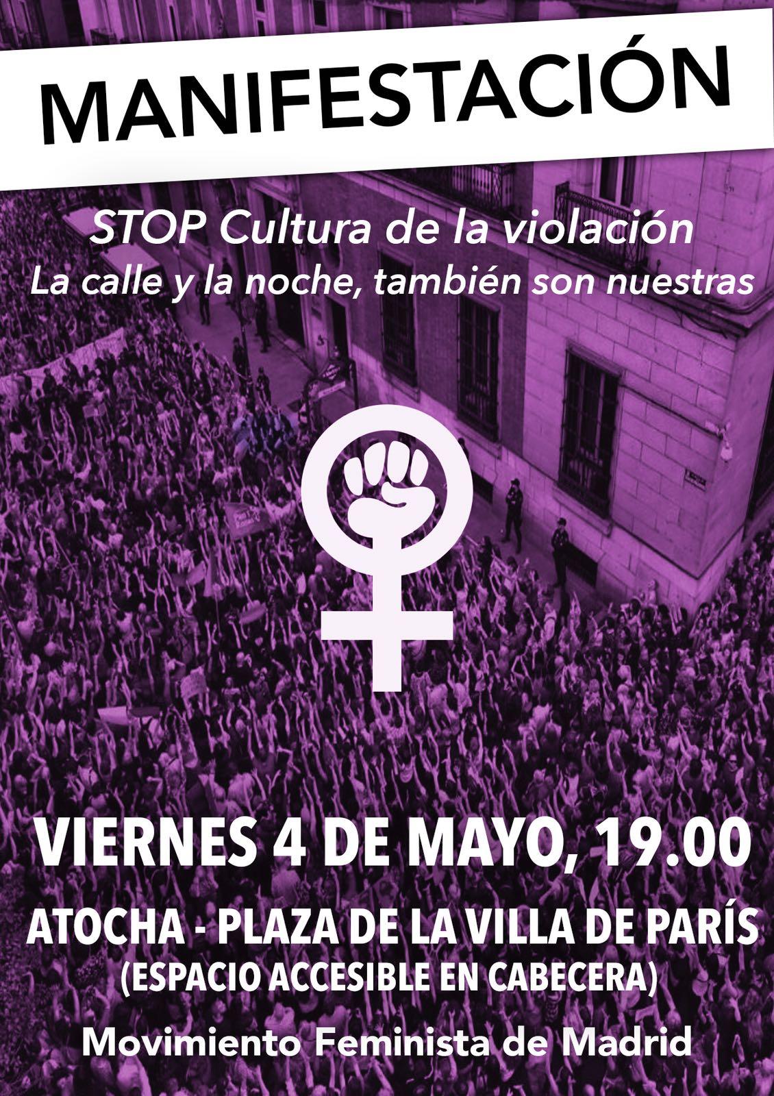 Manifestazione Venerdì 04 Maggio 2018 a Madrid Stop Cultura de la violación . Feminismo madrid